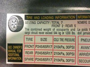 Tire Specs Driver Side Door Panel