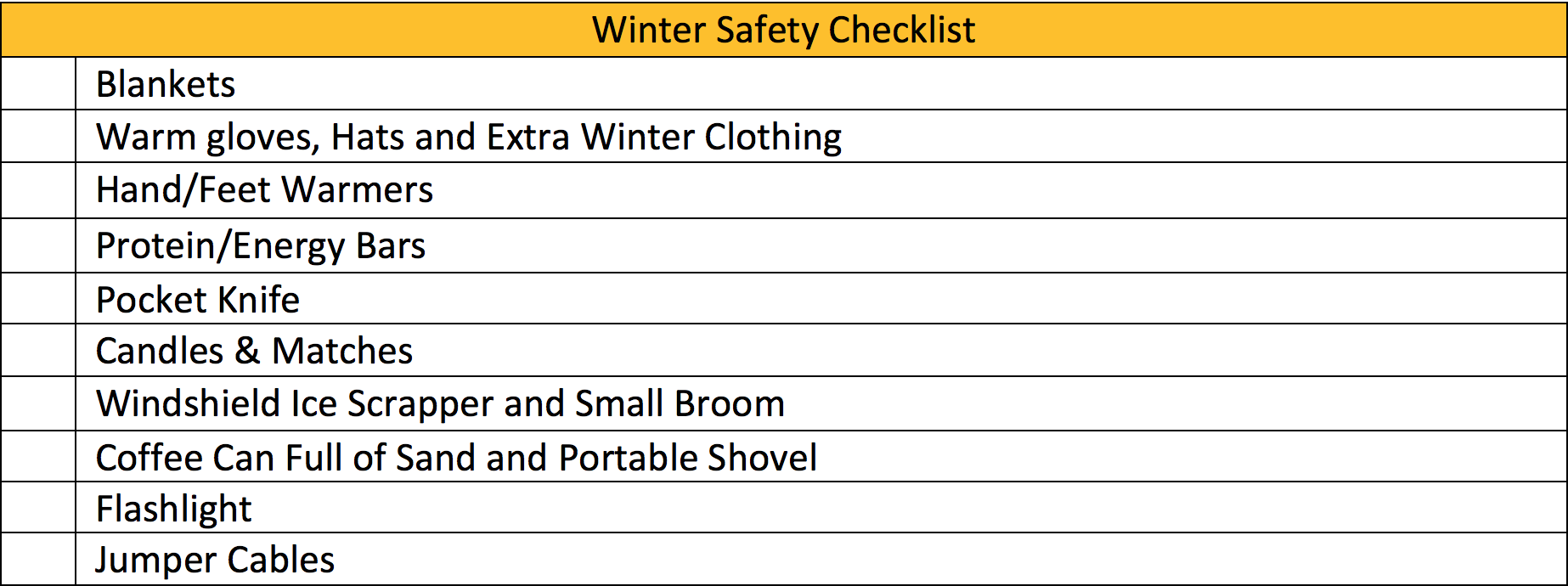 Winter Safety Checklist