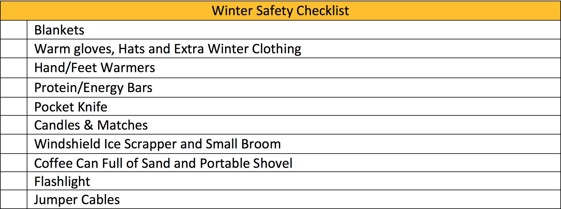 Winter Safety Checklist
